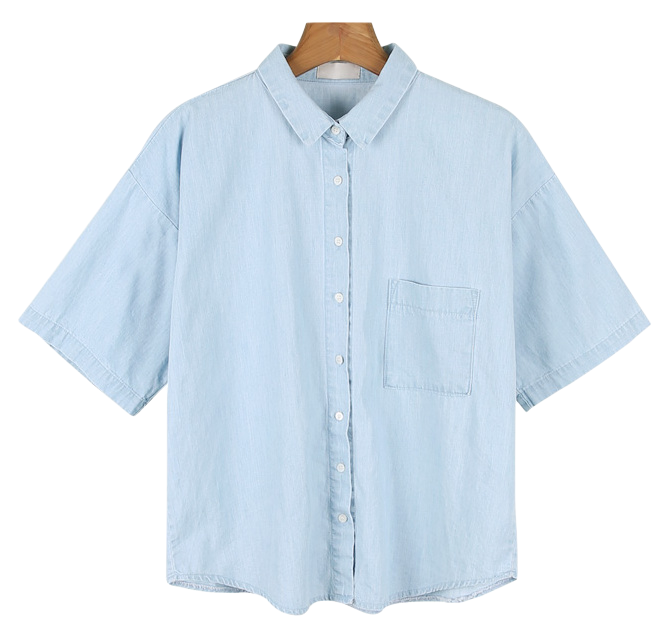 Denim half-sleeve shirt