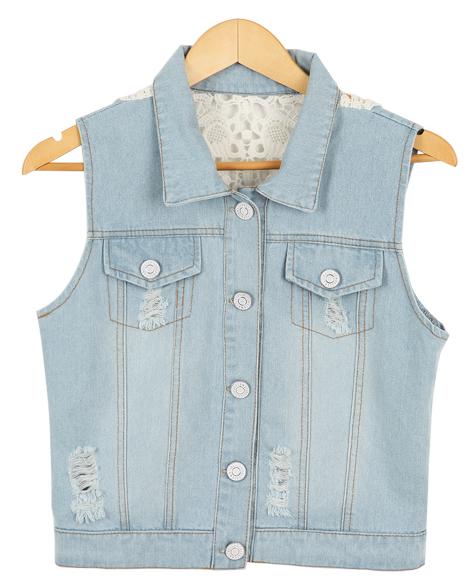 back embroidery denim, vest