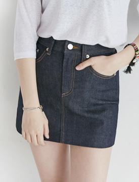 Indigo coating denim skirt_P (size : S,M)