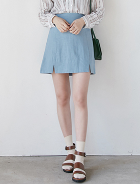 Double slit linen skirt_B (size : free)