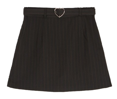 Heart Belt Skirt Pants(Black)