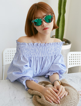 Shirring band off shoulder blouse_Y (size : free)