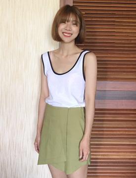 Slit culottes skirt_P (size : S,M)