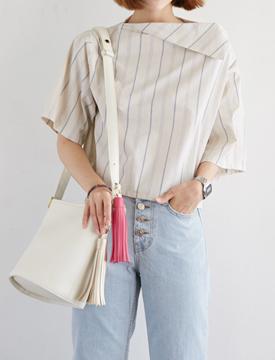 Unbal neckline stripe blouse_B (size : free)