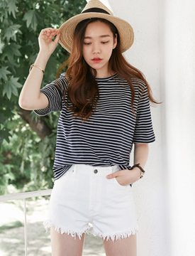 Day stripe cotton T_Y (size : free)
