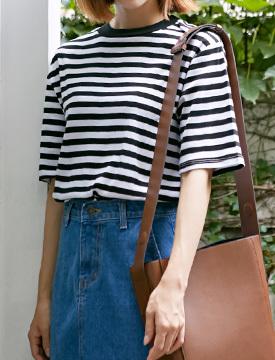 Casual stripe cotton T_M (size : free)