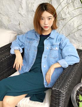 Vintage loose-fit denim jacket_B (size : free)