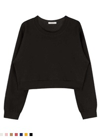 韓國空運 - 365 BASICBasic Round Neck Cropped Sweatshirt 長袖上衣