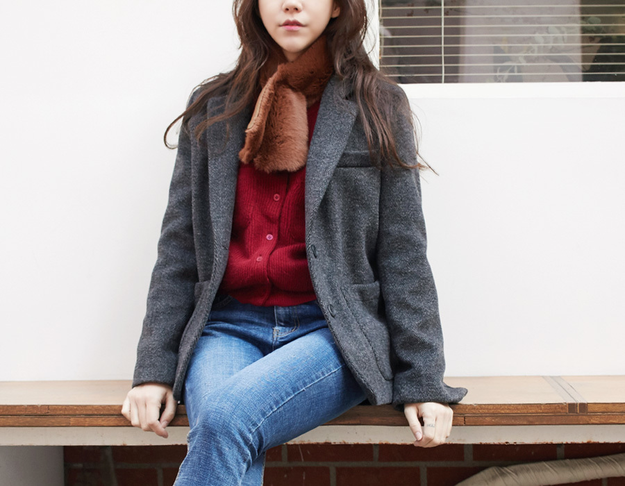 Mood herringbone quilt jacket_M (size : free)
