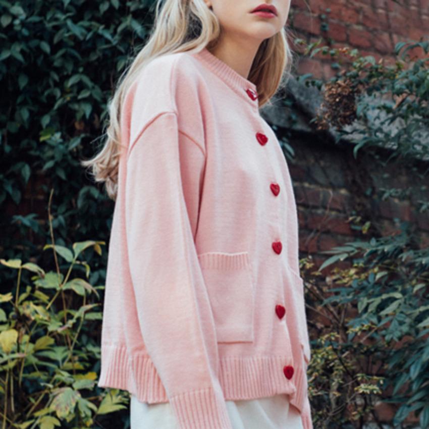Heart Button Cardigan (Pink)