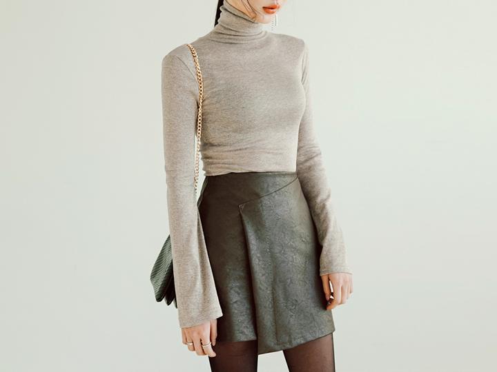 [TOP] BLING SLIM HIGH NECK T