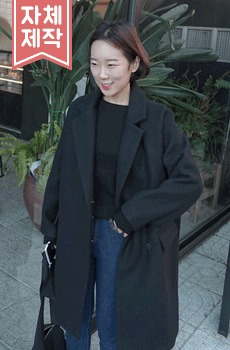 Grain - Wool coat (wool 80%, black)