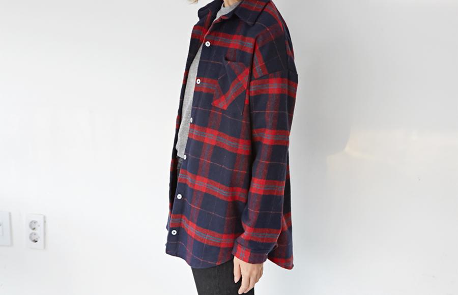 Winter check pocket shirts_H (size : free)