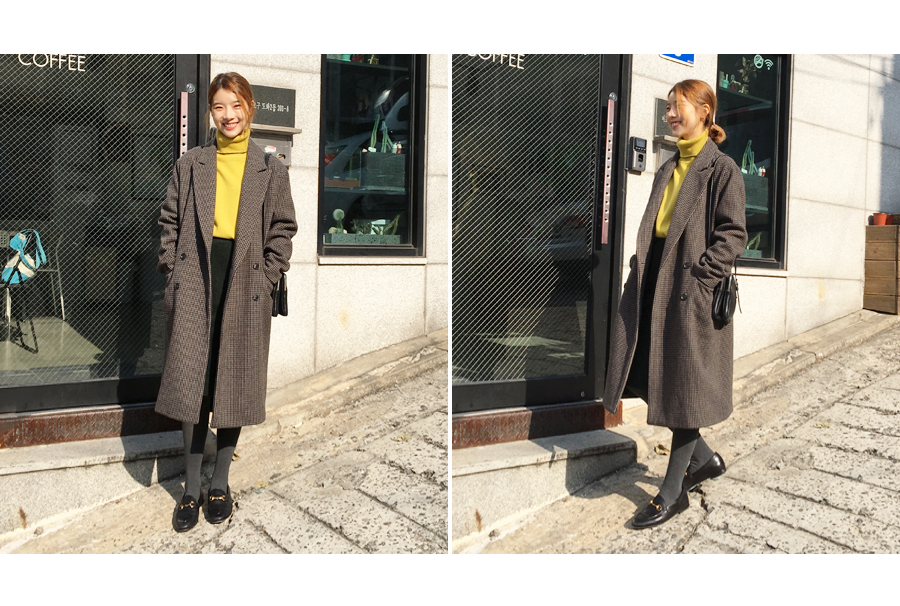 Brand check wool coat_Y (size : one)