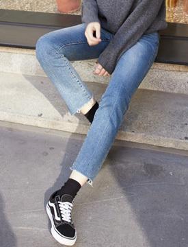 韓國空運 - Cony Faded Straight Denim Pants 牛仔褲