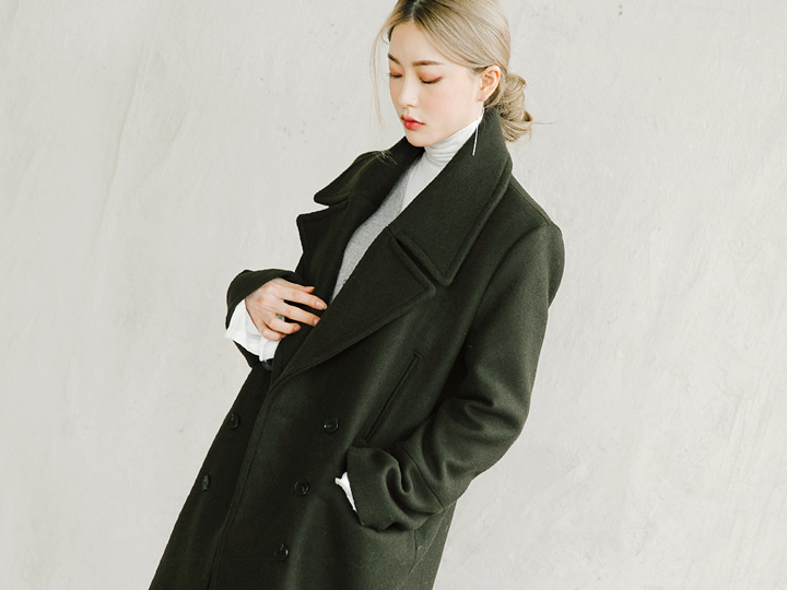 [OUTER] WIDE LAPEL DOUBLE COAT - WOOL 70%