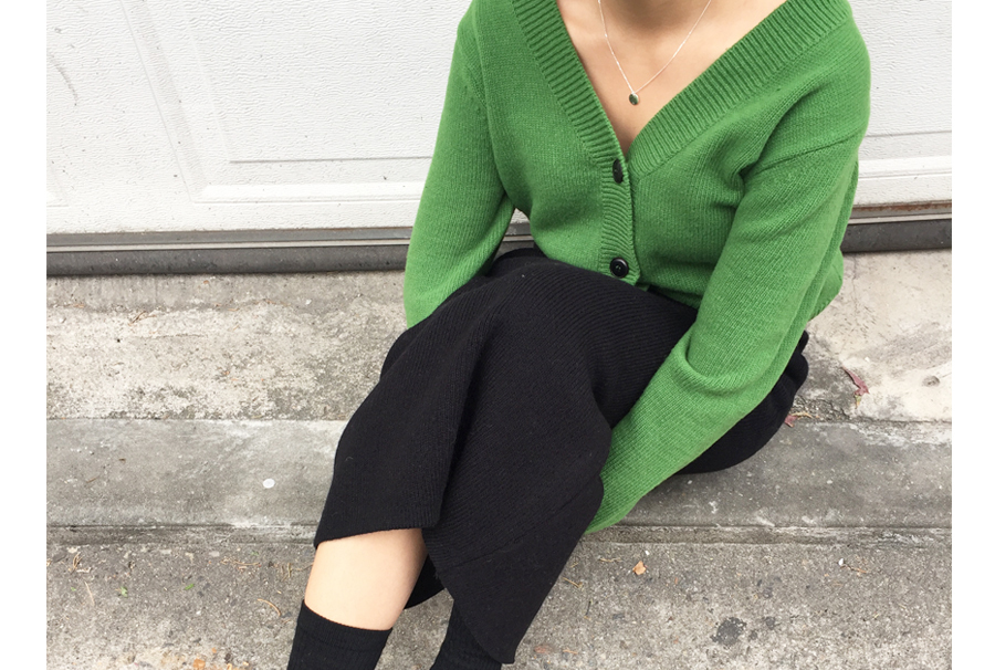 Apple green v cardigan_Y (size : free)
