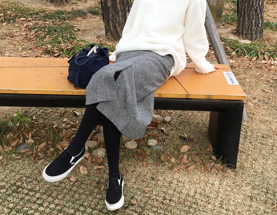 Warm check wool skirt_K  (size : free)