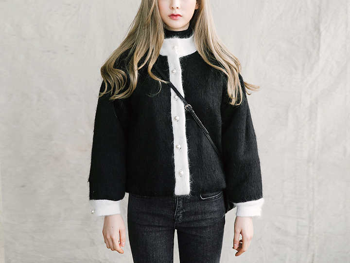 [OUTER] PEARL BUTTON MINI WOOL JACKET