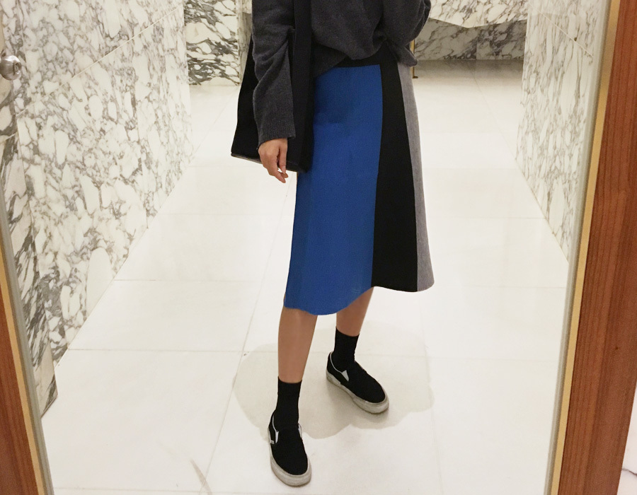Color block knit skirt_M (size : free)