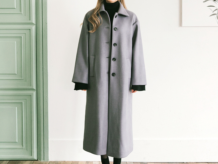 [OUTER] WARM SIMPLE LONG COAT