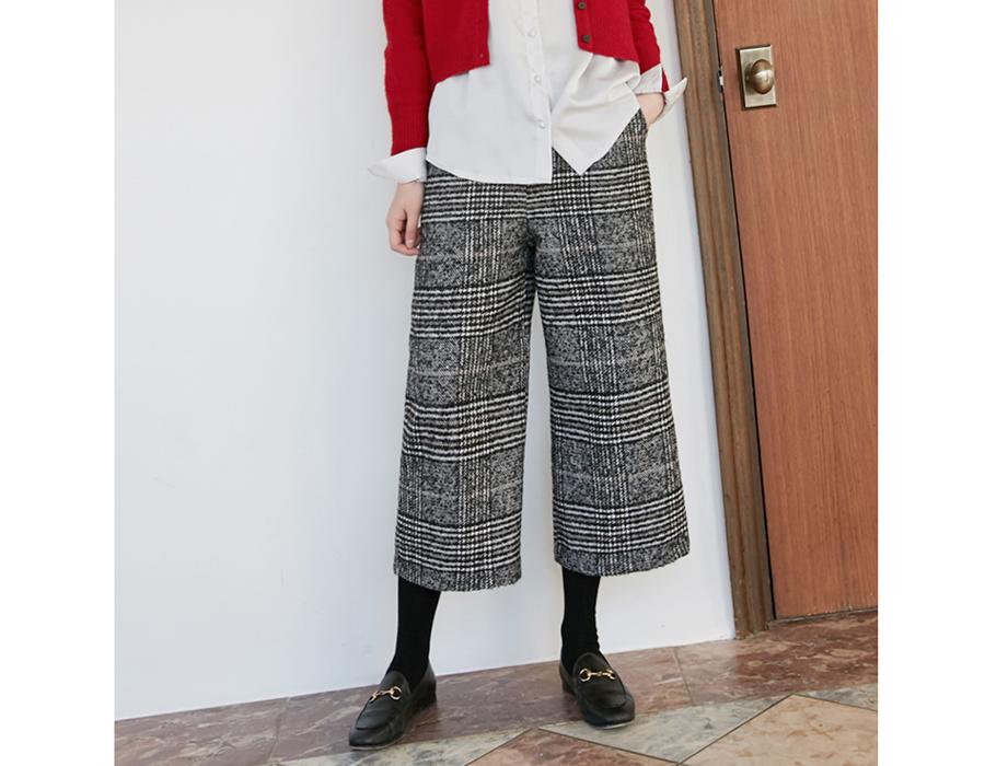 Modern check wide pants_B (size : free)