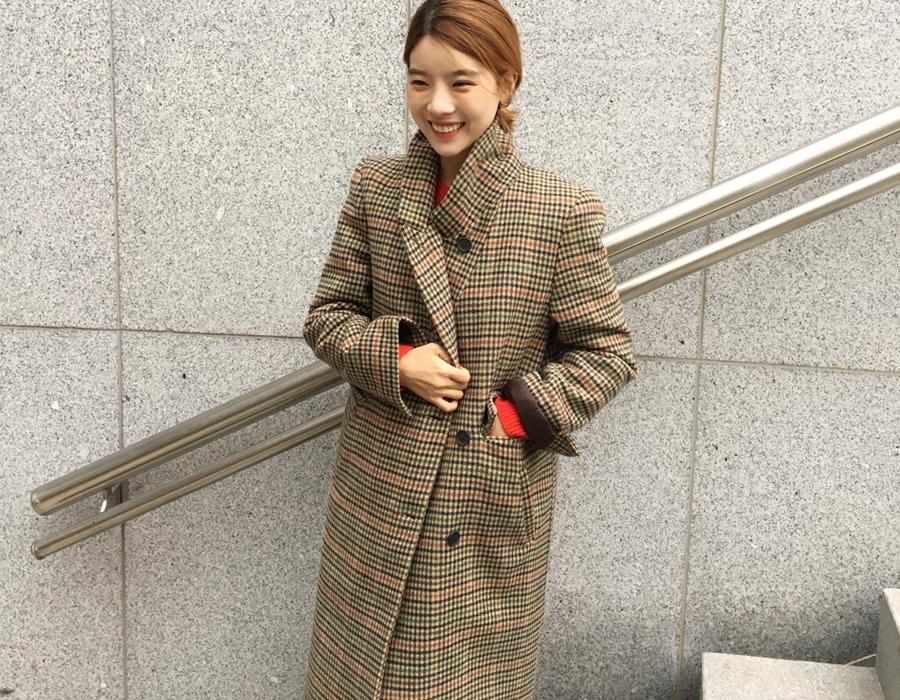 Check vintage double long coat_B (size : free)