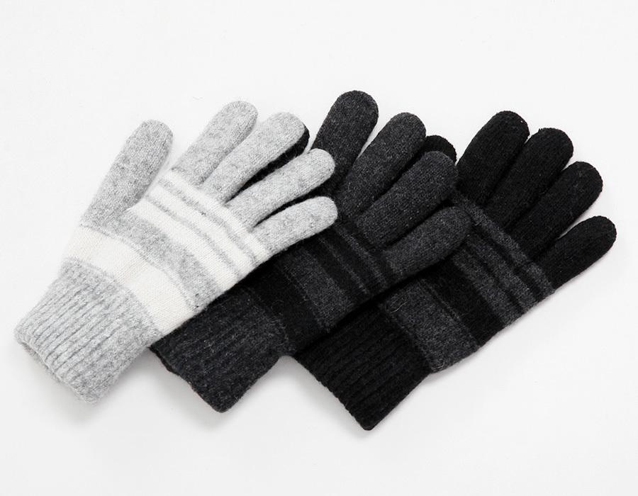 Winter stripe wool glove_K(size : one)