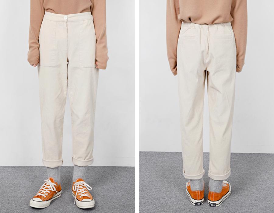 Corduroy pocket cotton pants_H (size : free)