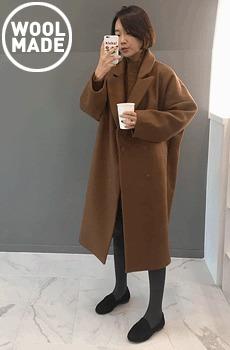 절개오버핏-롱코트 (울40%,camel)
