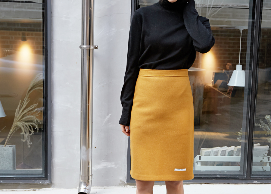 Bruno wool H-line skirt_Y (size : S,M)