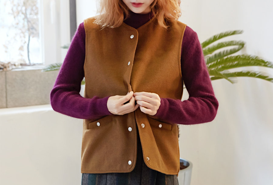 Snap button wool vest_H (size : free)