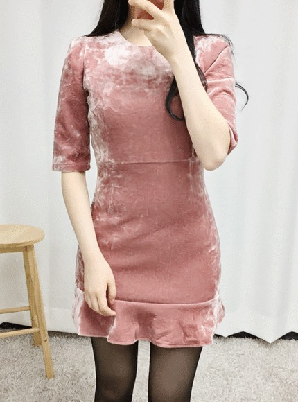 머메이드 벨벳원피스(2color)