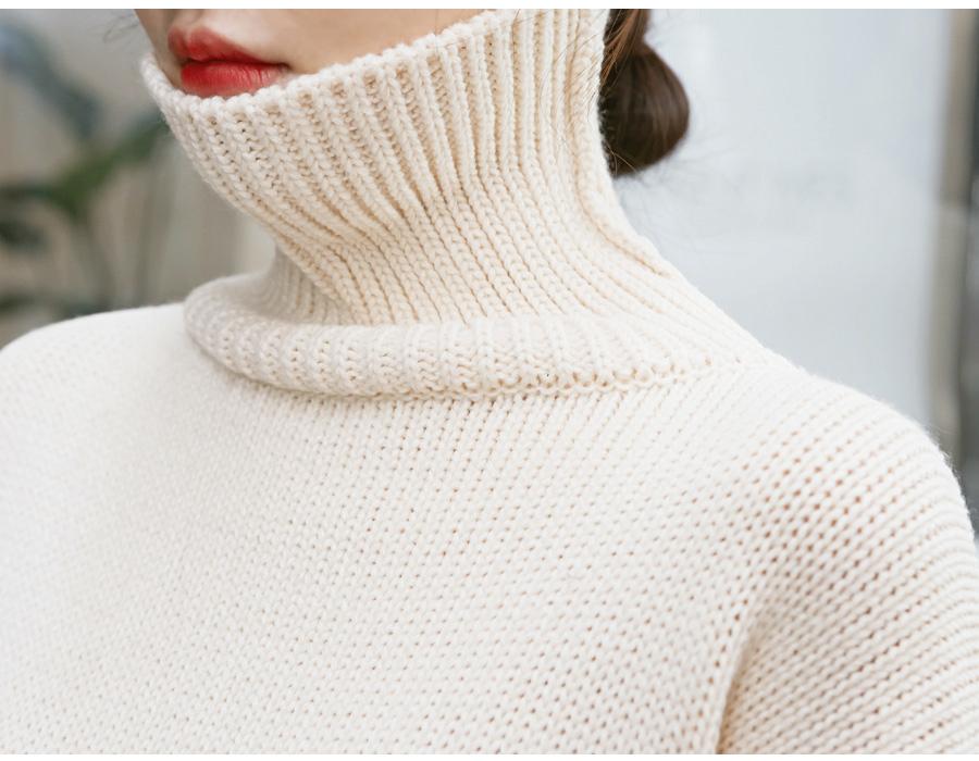 Calm drop turtle-neck knit_M (size : free)