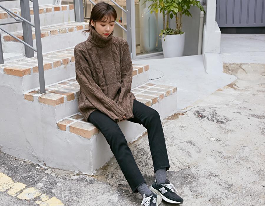 Cozy twist turtle-neck knit_K(size : free)