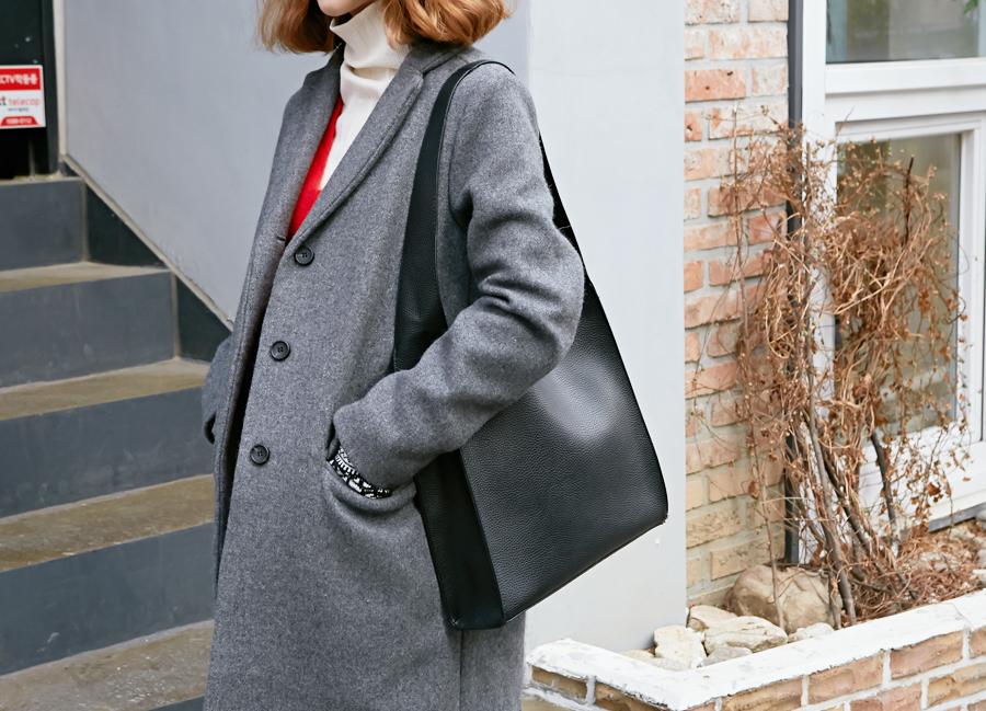 Stiff woolen single coat_Y (size : free)