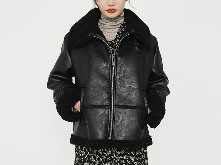 [OUTER] HIGH NECK LEATHER MUSTANG