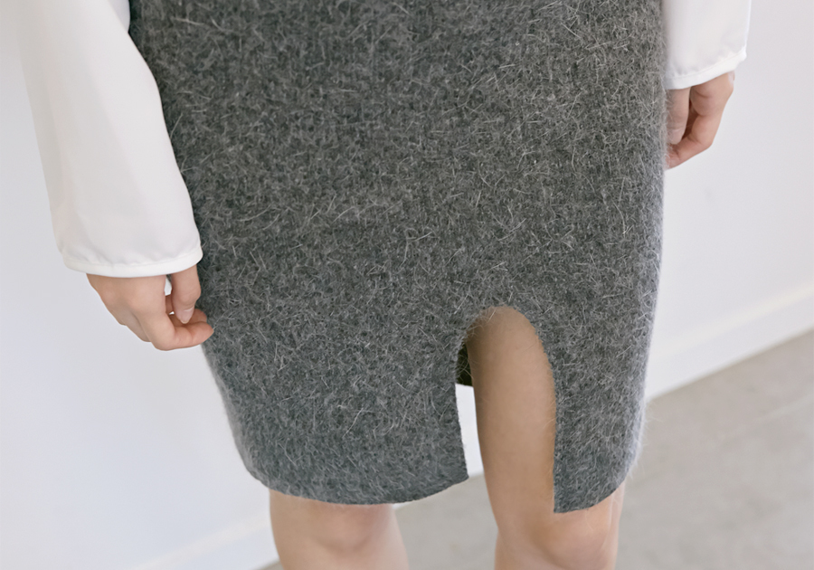 Classy angora skirt belt set_H (size : free)