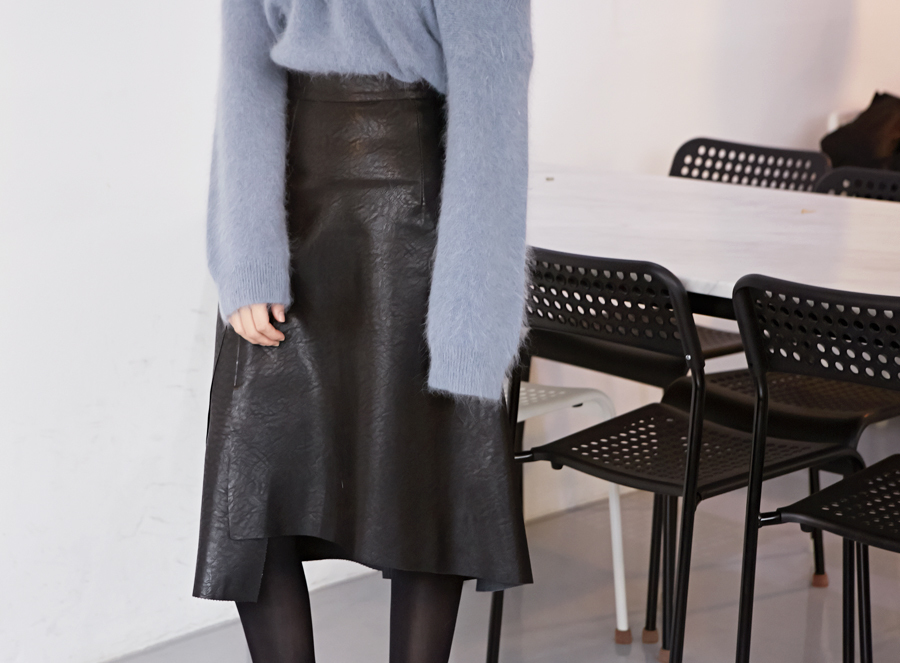 Number leather hul skirt_Y (size : S,M)
