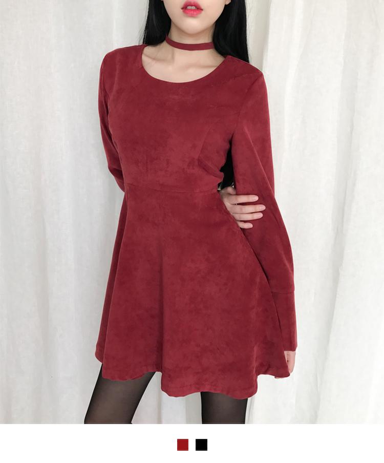 韓國空運 - Wide Cuff Fit-And-Flare Mini Dress 及膝洋裝
