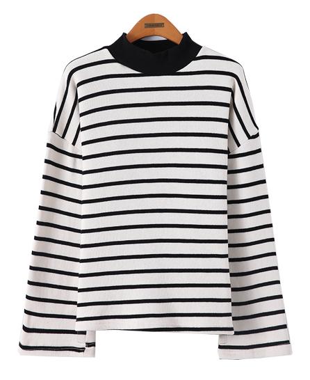 클레니 스트라이프 기모 스웨트 셔츠
