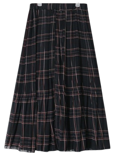 check pleats banding long skirt (2 colors)