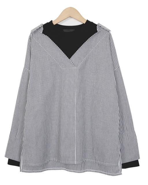 Daytime layered stripe shirts_H (size : free)
