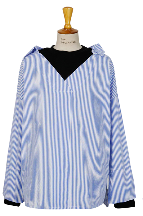 Daytime layered stripe shirts_H (size : free)