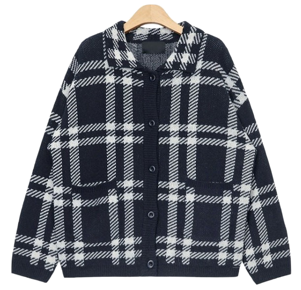 unique big check pattern cardigan