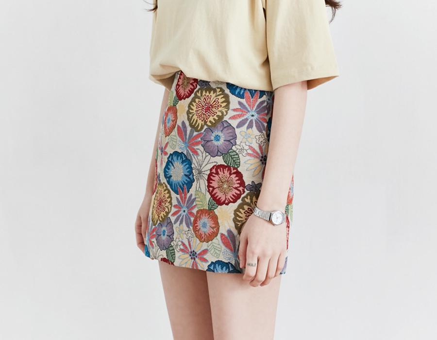Jacquard blossom mini skirt_K(size : S,M)