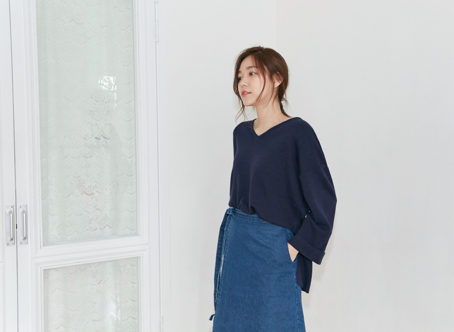 Calm V roll-up knit_H (size : free)
