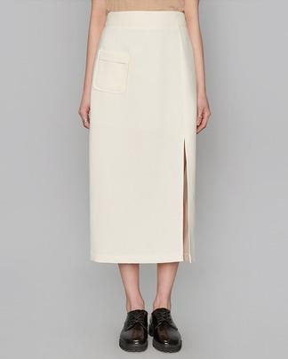 one side slit long skirt (2 colors)