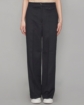 waist pocket point straight fit slacks (2 colors)