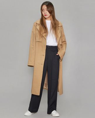 single cape detail trench coat (2 colors)